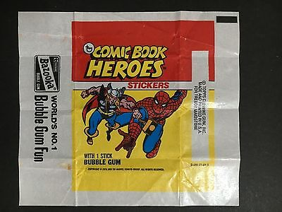 """comic Book Heroes"" Stickers Wrapper From 1974 By Topps"