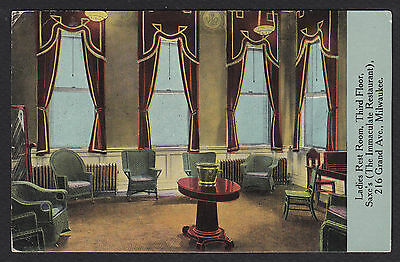 Milwaukee-Saxe's-Saxe-Immaculate Restaurant-Ladies Rest Room-Interior-Postcard