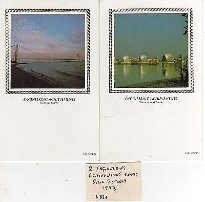 Two Engineering Achievement Cards  With Silk Pictures 1983 6D21
