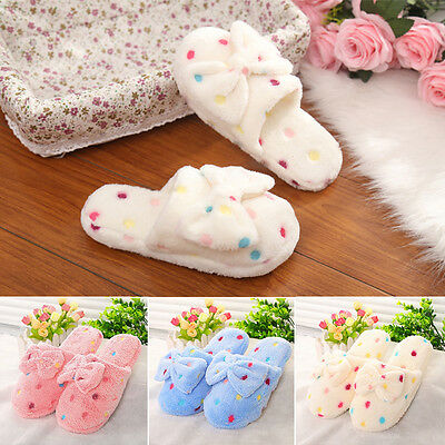 Women Warm Indoor Bowknot Slippers Sandal House Home Anti-slip Shoes Lovely