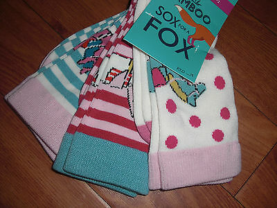 Bnwt Girls Joules Sox For A Fox 3 Pack Horse Bamboo Socks.size M/l Or 13-3.