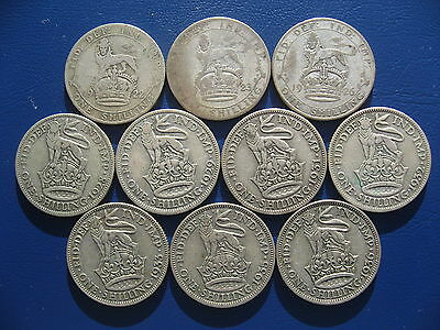 George V Shillings - 1922 1923 1926 1928 1929 1931 1932 1933 1935 & 1936 10 Coin
