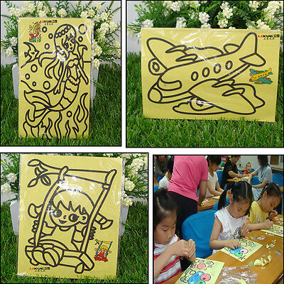 10X SAND ART PICTURES Kids Painting Coloured SAND Kids Painting&Drawing Craft