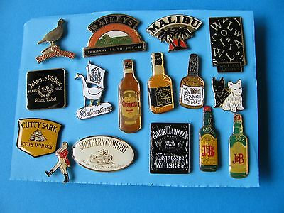 Collection of 16 Whisky & Spirit Pin Badges. Whiskey. Good Condition.