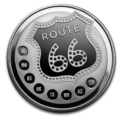 Sunhine Minting 1 oz 999 Silber Silbermedaille Route 66 Prooflike Geschenk