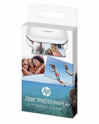 """HP ZINK Sticky-Backed Photo Paper For Sprocket Mini Printer 20 sheets 2"""" x 3"""""""