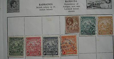 Collection of 7 x old Barbados stamps, including mint stamps, on album page