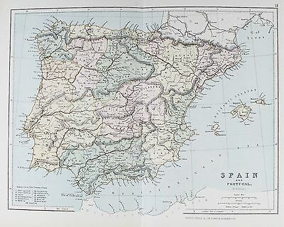 OLD ANTIQUE MAP SPAIN PORTUGAL MAJORCA MINORCA c1879 by G PHILIP PRINTED COLOUR