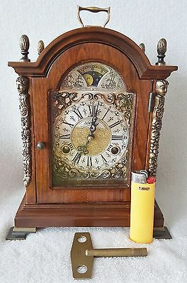 Warmink Mantel Shelf Clock Vintage Moon Dial Double Bells Dutch Nut Wood Case
