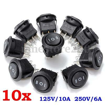 10pcs ON/OFF/ON 3 Position SPDT Round Boat Rocker Switch AC 6A/250V 10A/125V