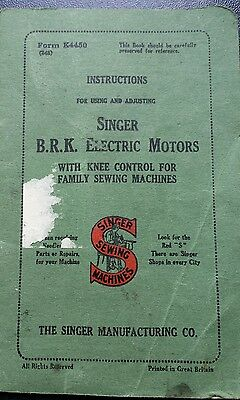 Singer Sewing Machine B.r.k Electric Motors With Knee Control - Rare Instruction