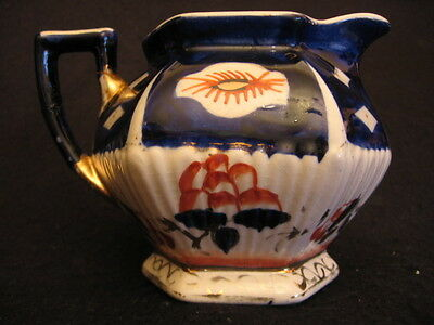 ANTIQUE GAUDY WELSH HAND-PAINTED AW QUEENS PATTERN CREAMER/MILK c.1904-1928 A/F