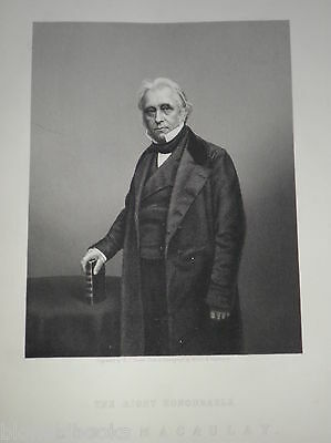 Thomas Babbington, Lord Macaulay: c1860 Original Antiquarian Portrait Engraving