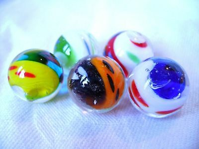 NEW SET OF 5 HANDMADE YIN YANG 16mm GLASS MARBLES TRADITIONAL COLLECTOR Y2456&7