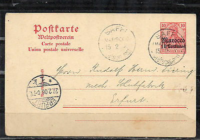 DR Deutsche Post Marocco 10 Centiomos SAFFI 15.2.1906 to Erfurt 21.2.1906