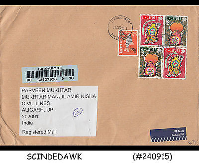 Singapore - 2015 Registered Air Mail Envelope To India With Stamps