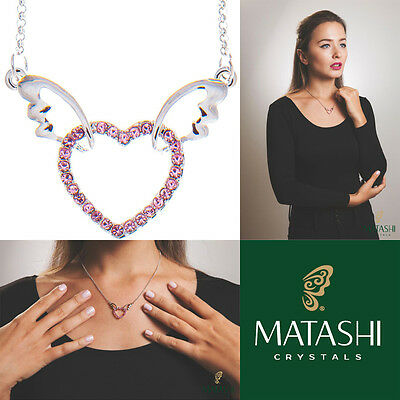 "16"" Rhodium Plated Necklace w/ Winged Heart Design & Pink Crystals by Matashi"