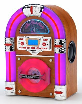 Steepletone Jive Rock Sixty Light Wood Mini Jukebox Music CD MP3 Bluetooth Radio
