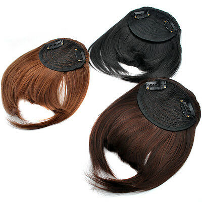 Straight Clip In Hair Extensions  Front Tilted Neat Bang Fringe With Temple E001