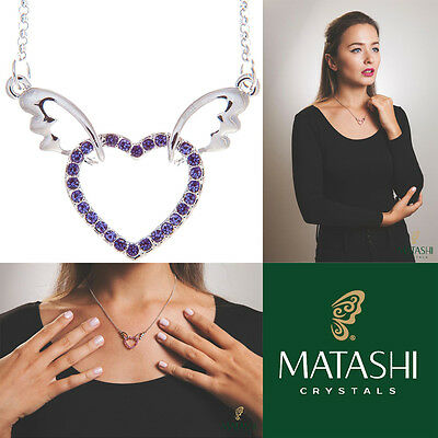 "16"" Rhodium Plated Necklace w/ Winged Heart & Purple Crystals by Matashi"