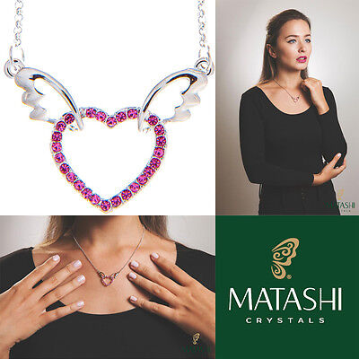 "16"" Rhodium Plated Necklace w/ Winged Heart & Rose Crystals by Matashi"