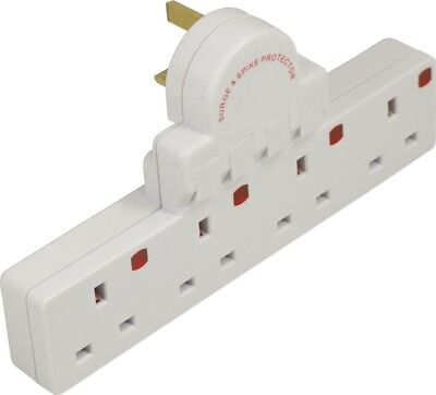 Eagle White 4 Way Plug-in Switched Extension Block E250DH