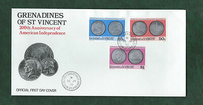 Grenadines of St Vincent 1976 US independence set on illustrated FDC
