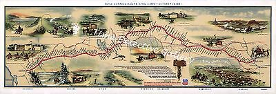 Illustrated Route of the Pony Express Map - Historic Lithograph Print