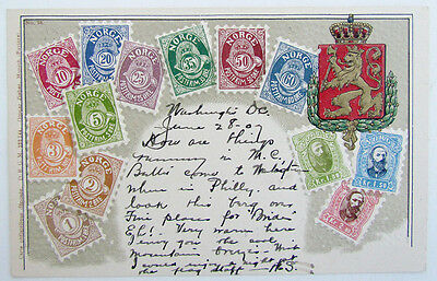 1907 VINTAGE UNDIVIDED POSTCARD NORGE NORWAY STAMPS w/ CORK CANCEL