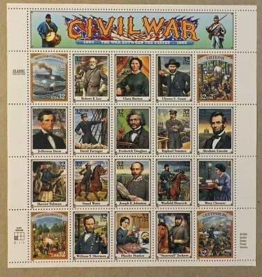 United States - Civil War 1861 to 1865 - 20 Unused stamps, MNH sheet - 32 cent