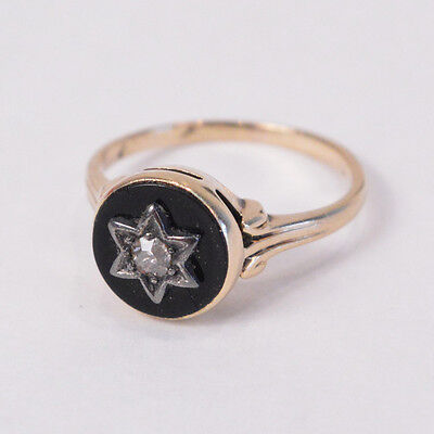C265 Cute small Vintage 14K Yellow GOLD RING w/ ONYX and DIAMOND 2.2g Size 3 1/2