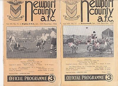 57/58 Newport County v Bournemouth 14 12 1957 Signed