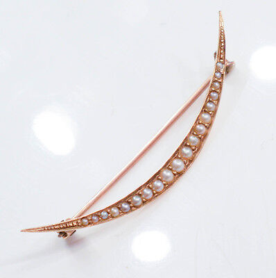 C448 Antique 14K yellow GOLD Brooch set with PEARLS 1.5g