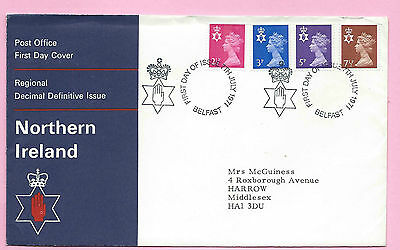 NORTHERN IRELAND Post Office FDC -  July 1971 NEW DEFINITIVES - Shs BELFAST