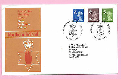 NORTHERN IRELAND Post Office FDC -  July 1980 NEW DEFINITIVES - Shs BELFAST