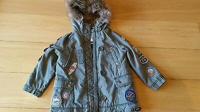 NEXT BNWT Girls Next green cosy Parka Jacket Age 5 years faux fur hooded trim