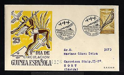11551-Spanish Guinea-Spain Colonies-Fdc.reg.cover S.isabel.1957.excolonia España