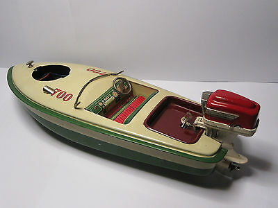 Japan Tinplate Battery Speed Boat with Outboard Motor