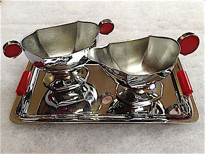 Vintage Art Deco Stainless Chrome Creamer/Sugar & Tray Set - Red Lucite Accents