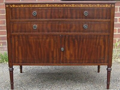 Shapland & Petter antique Victorian mahogany inlaid 2 drawer cupboard cabinet