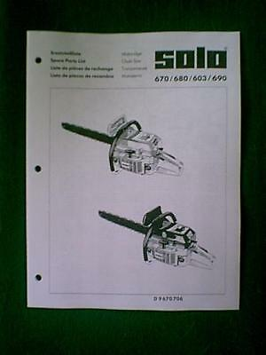 Solo Models 670 680 603 690 Chain Saw Parts Manual