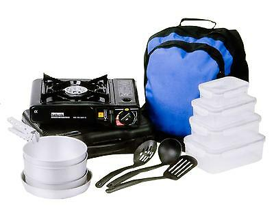 Camping Cooking Set, Portable Gas Stove, 2 Saucepans, Utensils, Backpack