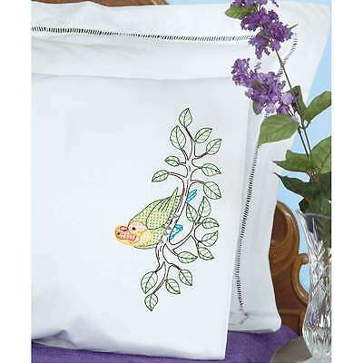 Stamped Pillowcases W/White Perle Edge 2/Pkg-Love Birds 013155855746
