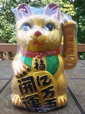 """14""""H Chinese Good Luck Gold Waving Hand Paw Up Fortune Kitty Cat ( Ceramic )"""