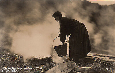 Postcard Rotorua New Zealand early view Maori Cooking RP by Tanner of Wellington