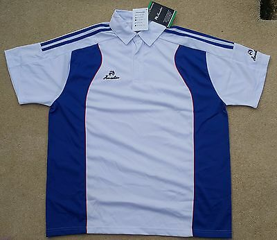 HENSELITE Mens White Blue Red Bowls Polo Top Large 100% Polyester Ex Display