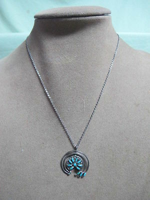 Vtg Native American Signed E Meeka Petit Point Turquoise pendant Chain Necklace