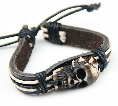 Vintage Harley Riders Tribal Style Skull & Leather Bracelet...FREE SHIPPING