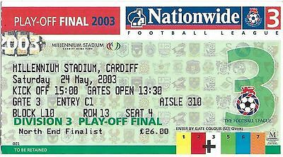 Football Ticket AFC BOURNEMOUTH v LINCOLN CITY May 2003 Div 3 Play-Off Final