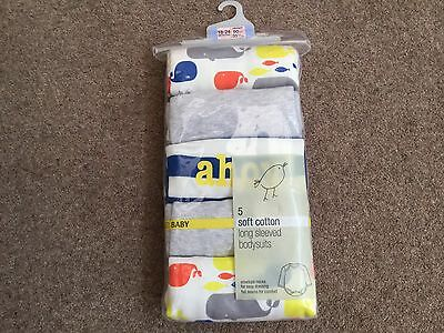 Marks And Spencer Long Sleeve Bodysuits. Pack Of 5. BNWT 18-24 Months